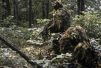 Hiding Photograph - A Marine Sniper Team Wearing Camouflage by Stocktrek Images