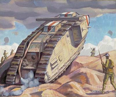 Trench Painting - A Mark V Tank Going Into Action, Wwi by Bernard Adeney