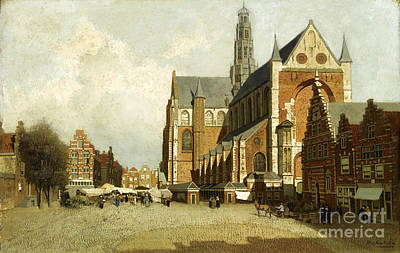 Blog Painting - A Market By The St. Bavo Church by Celestial Images