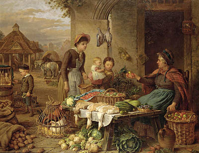 A Market Stall Art Print by Henry Charles Bryant