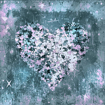 Digital Art - A Marriage Of Hearts Grunge Contemporary by Georgiana Romanovna