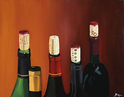 Oil Drawing - A Maryland Wine Party by Brien Cole