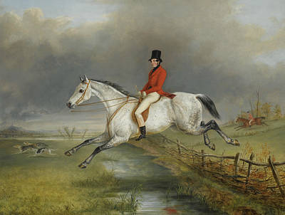 Clearing Painting - A Master Of The Royal Buckhounds Clearing A Fence On A Grey Hunter by George Henry Laporte