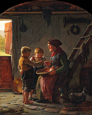A Meal. Two Boys And A Grandmother Tasting The Potato Soup Art Print by Carl Heinrich Bloch