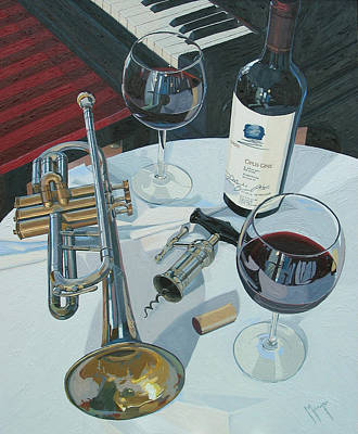 Wine Oil Painting - A Measure Of Opus by Christopher Mize