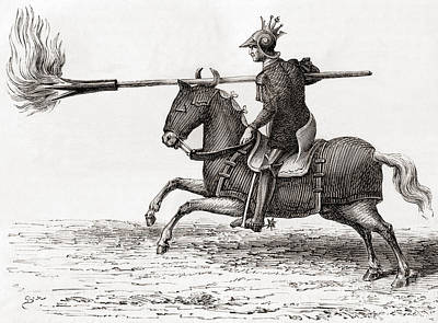 Knight Drawing - A Medieval Knight Carrying A Fire Lance by French School