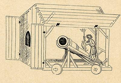 Shed Drawing - A Medieval Mobile Cannon Being Fired by Vintage Design Pics