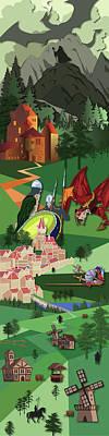 Knights Castle Digital Art - A Medieval Scene by Henrik Bakmann