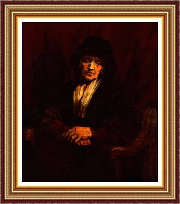 Soap Suds - A Meditating Old Woman - Inspired by Rembrandt L B With Decorative Ornate Printed Frame. by Gert J Rheeders