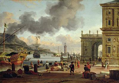Seventeenth Century Painting - A Mediterranean Harbour Scene   by Abraham Storck
