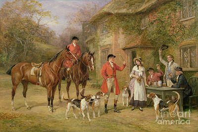 English Horse Painting - A Meeting At The Three Pigeons by Heywood Hardy