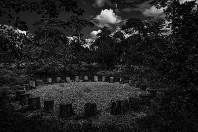 A Meeting Place. A Clearing In The Wild Woods. A Black And White Fine Art Photographic Print Art Print