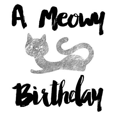 Digital Art - A Meowy Birthday For Cat Lovers by Sabine Jacobs