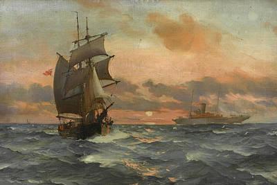 Sphere Painting - A Merchant Brig by Montague Dawson