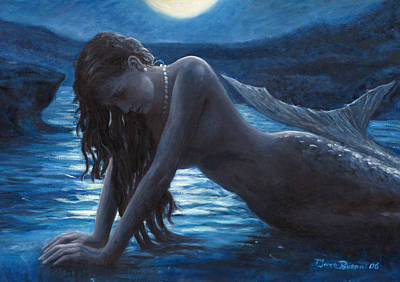 Siren Painting - A Mermaid In The Moonlight - Love Is Mystery by Marco Busoni