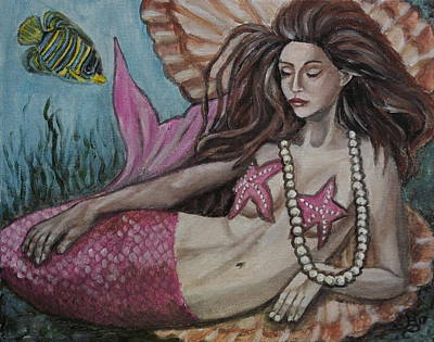 Painting - A Mermaid Named Pearl by Kim Selig