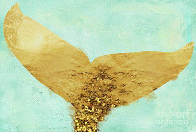 Mermaid Tail Painting - A Mermaid's Tail II, Painterly Coastal Art, Gold Metal by Tina Lavoie