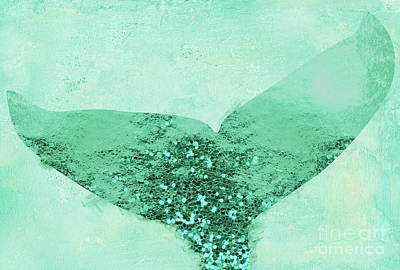 Mermaid Tail Painting - A Mermaid's Tail IIi, Painterly Coastal Art, Aqua Scales by Tina Lavoie