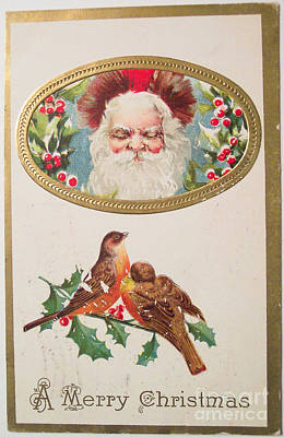 Painting - A Merry Christmas From Santa Claus Vintage Greeting Card With Robins by R Muirhead Art