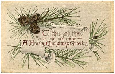 Painting - A Merry Christmas Greeting Vintage by R Muirhead Art