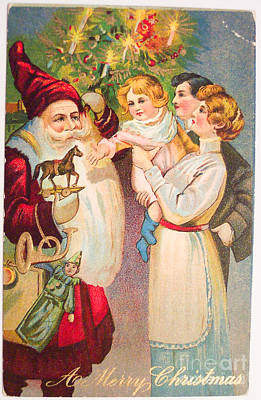 Painting - A Merry Christmas Vintage Card Santa And A Family by R Muirhead Art