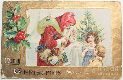 Painting - A Merry Christmas Vintage Greetings From Santa Claus Hands Out His Gifts by R Muirhead Art