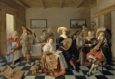 Jan Miense Molenaer Painting - A Merry Company by Jan Miense Molenaer