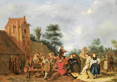 Jan Miense Molenaer Painting - A Merry Company Outside An Inn by Jan Miense Molenaer