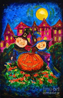 Painting - A Merry Halloween by Zaira Dzhaubaeva