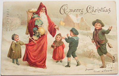 Painting - A Merry Joyous Christmas Vintage Card by R Muirhead Art