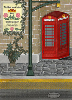 English Ivy Painting - A Merry Old Corner In London by Anne Norskog