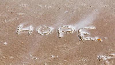 A Message On The Beach Art Print by John M Bailey