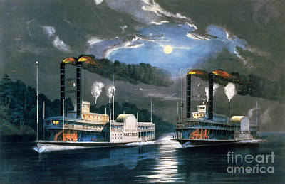 Moonlit Night Painting - A Midnight Race On The Mississippi by Currier and Ives
