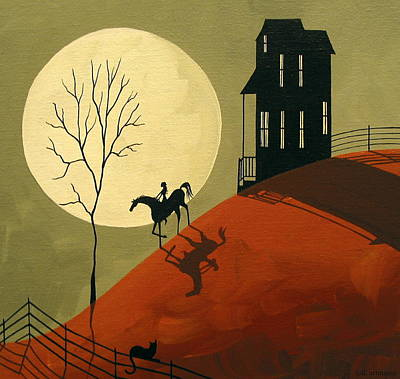 Cat Art Painting - A Midnight Ride by Debbie Criswell