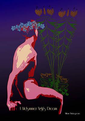 Art Nouveau Flower Digital Art - A Midsummer Night's Dream by Quim Abella