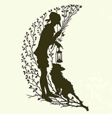 Man In The Moon Drawing - A Midsummer Night's Dream, Silhouette  by Paul Konewka