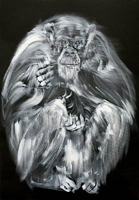Painting - A Mighty Calmness Seated #chimpanzee by Fabrizio Cassetta