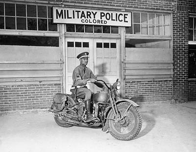 1940s Candid Photograph - A Military Police Officer Posed by Everett