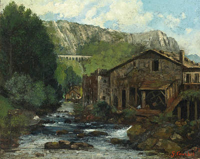 Painting - A Mill In A Rocky Landscape by Gustave Courbet