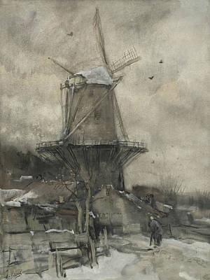 A Mill In Winter Art Print