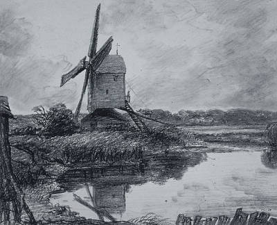 Pond Drawing - A Mill On The Banks Of The River Stour Charcoal On Paper by John Constable