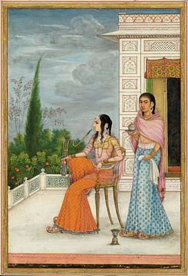 Courtesan Painting - A Miniature Painting Of A Courtesan And A Servant by MotionAge Designs