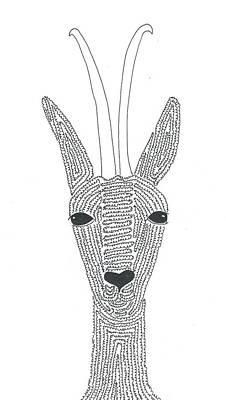 Simplicity Drawing - A Minimalist Antelope by Nerea Gutierrez