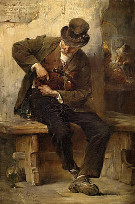 Painting - A Ministrel With A Wine Glass In A Tavern by Friedrich von Keller