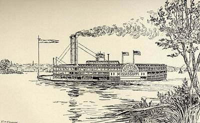 St. Louis Drawing - A Mississippi Steamer Off St. Louis by Vintage Design Pics