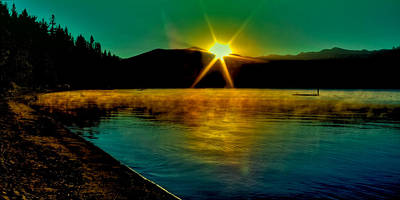 Refection Photograph - A Misty Sunrise On Priest Lake by David Patterson