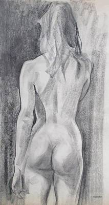 Drawing - A Model From South Africa, Back View by Robert Holden