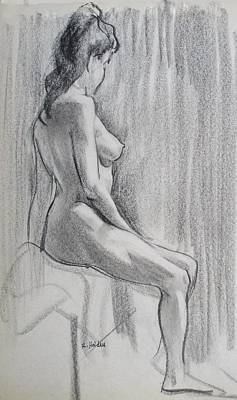 Drawing - A Model From South Africa, Profile Figure by Robert Holden