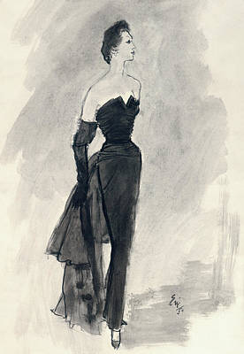 Oscar Digital Art - A Model Wearing A Nina Ricci Dress by Carl Oscar August Erickson