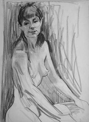 Drawing - A Model With Bangs by Robert Holden
